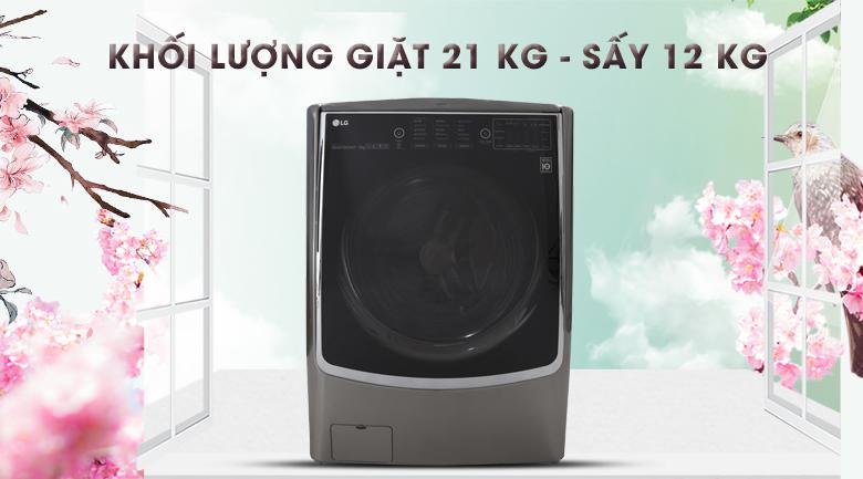Khối lượng giặt lên đến 21 kg và khối lượng sấy 12 kg- Máy giặt sấy LG Inverter 21 kg F2721HTTV