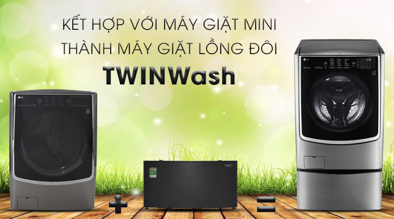 Kết hợp với máy giặt Mini Samsung - Máy giặt sấy LG Inverter 21 kg F2721HTTV