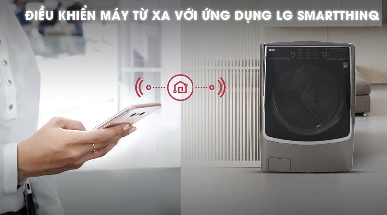 Điều khiển từ xa thông qua Smartphone - Máy giặt sấy LG Inverter 21 kg F2721HTTV