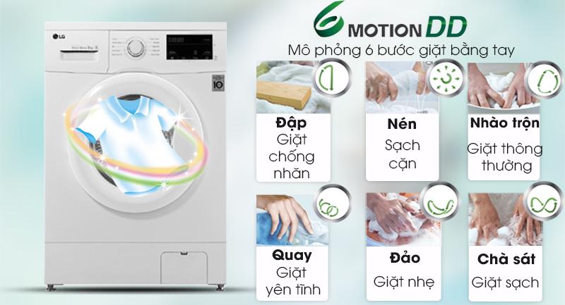 Máy giặt LG Inverter 8 kg FM1208N6W-Nâng cao hiệu quả giặt sạch bởi công nghệ 6 Motion
