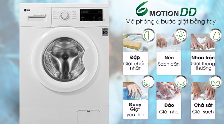 Giặt 6 chuyển động - Máy giặt LG Inverter 9 kg FM1209N6W