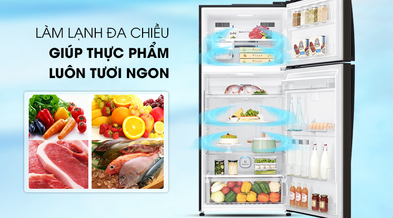Luồng khí lạnh đa chiều - Tủ lạnh LG Inverter 475 lít GN-D602BL