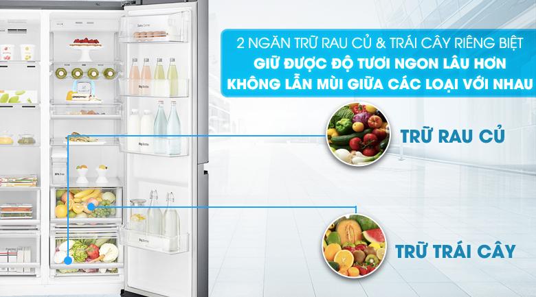 Ngăn rau quả lớn với 2 chức năng riêng biệt - Tủ lạnh LG Inverter 601 lít GR-D247JS