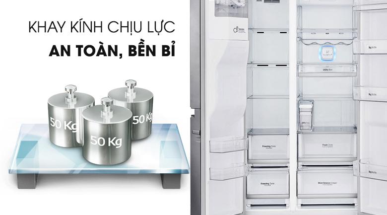 Chứa nhiều thực phẩm với khay kính chịu lực - Tủ lạnh LG Inverter 601 lít GR-D247JS
