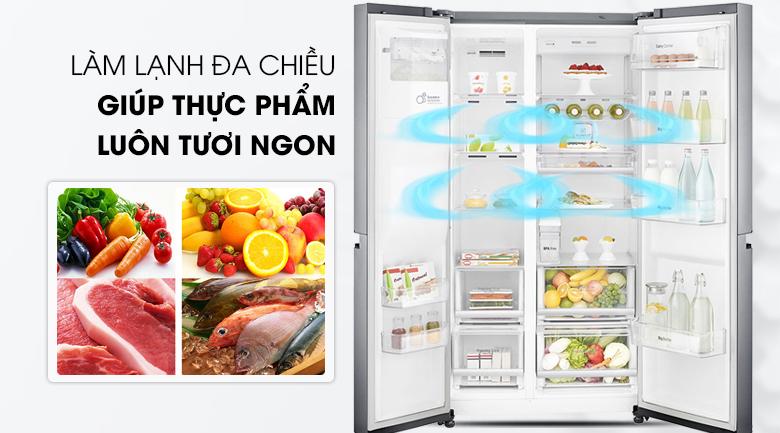 Công nghệ làm lạnh đa chiều - Tủ lạnh LG Inverter 601 lít GR-D247JS