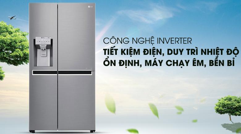 Tiết kiệm điện cùng công nghệ Inverter - Tủ lạnh LG Inverter 601 lít GR-D247JS