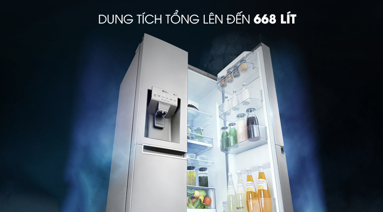 Dung tích tổng 601 lít - Tủ lạnh LG Inverter 601 lít GR-D247JS
