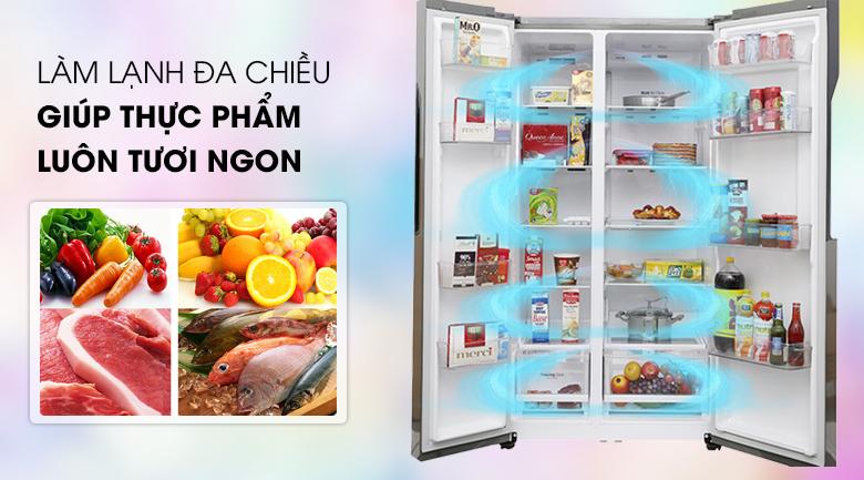Hệ thông khí lạnh đa chiều làm lạnh mạnh mẽ, đồng đều - Tủ lạnh LG Inverter 613 lít GR-B247JDS