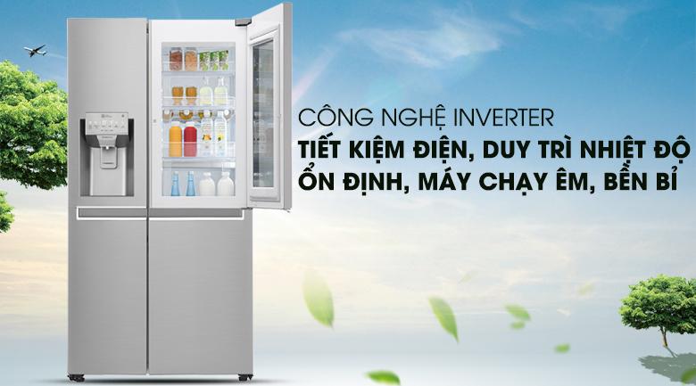 Công nghệ máy nén biến tần Inverter tiết kiệm điện năng hiệu quả - Tủ lạnh LG Inverter InstaView Door-in-Door 601 lít GR-X247JS