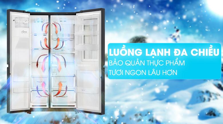 Hệ thống làm lạnh đa chiều - Tủ lạnh LG Inverter InstaView Door-in-Door 601 lít GR-X247MC